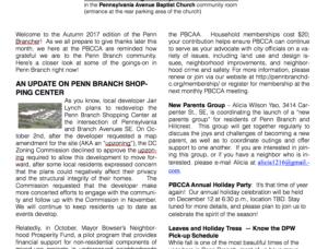 Penn Branch November Newsletter